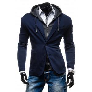 Elegantní pánské bundy do chladného počasí modré barvy
