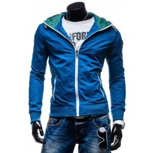 Pánské prěchodné bundy s kapucí modré barvy