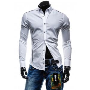 Bíle pánské sportovní košile s dlouhým rukávem