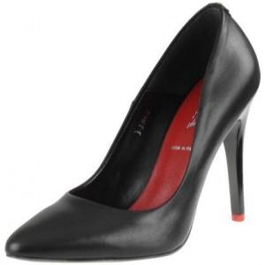 Trendové dámské lodičky černé barvy s vysokým podpatkem