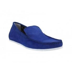 Pánské kožené extravagantní mokasíny modré barvy