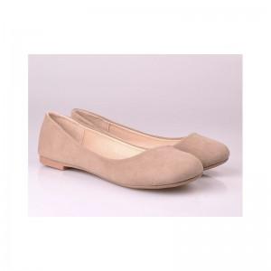 Semišové dámské baleríny krémové barvy
