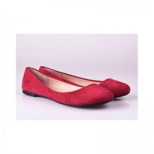 Elegantní semišové balerínky červené barvy