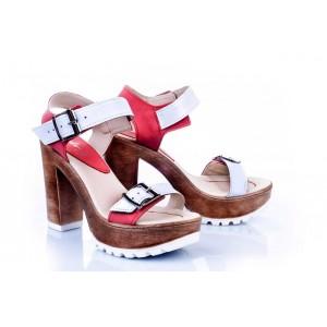 Kožené dámské sandály v bílo-červené barvě