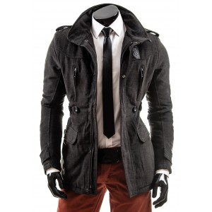 Pánský kabát šedé barvy