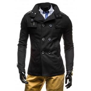 Podzimní pánský kabát černé barvy