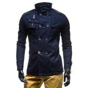 Pánský podzimní modrý kabát