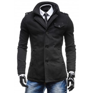 Zimní pánský černý kabát