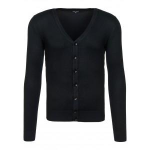Černý pánský svetr s knoflíky