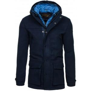 Elegantní pánský kabát tmavě modré barvy