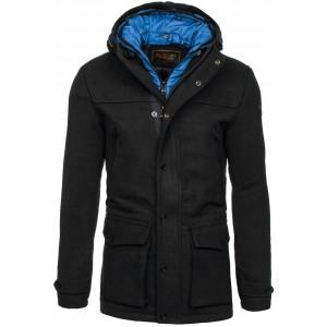 Pánské kabáty s kapucí černé barvy