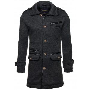 Pánský formální zimní kabát černé barvy