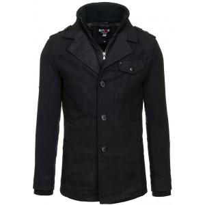 Černý pánský kabát na zip s knoflíkama