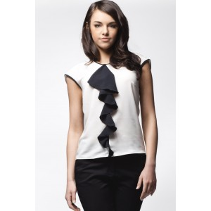 Elegantní bílo černá dámská halenka