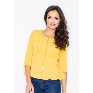 Žluté dámské sako na zip