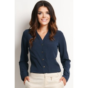 Tmavě modrá dámská košile s dlouhým rukávem