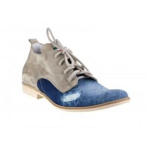 Pánské kožené boty modro-béžový