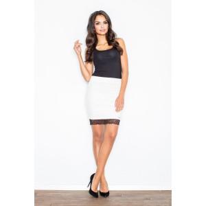 Bílé dámské sukně s černým krajkovým lemováním