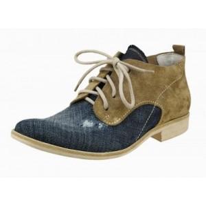 Pánské kožené boty modro-hnědé