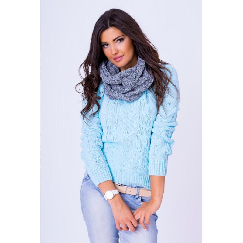 48cef616113 ... svetry Dámský pletený svetřík modré barvy. Předchozí