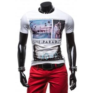 Bílé pánské tričko s barevným potiskem