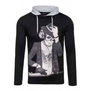 Černé pánské tričko černé barvy s motivem DJ kostry