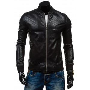 Pánské kožené bundy se zipem černé barvy