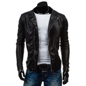 Pánská kožená bunda v černé barvě se zipem