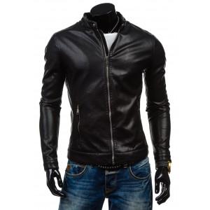 Pánská koženková bunda černé barvy