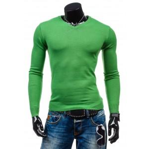 Pánský svetr zelené barvy s výstřihem do V