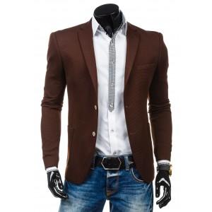 Hnědé pánské sako s bočními a vnitřními kapsami