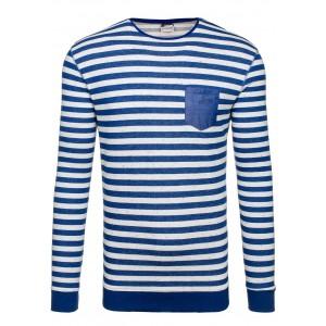 Modrý pánský svetr s bílými proužky