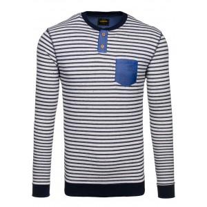 Pruhovaný pánský svetr s modrou kapsou a černým lemováním