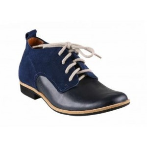 Pánské kožené boty modro-černé