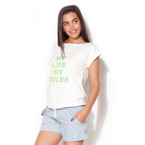 Bílá trička dámská se zeleným textem