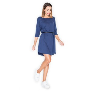 Letní šaty modré barvy s páskem