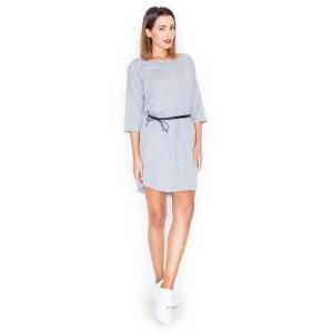 Krásné dámské letní šaty v šedé barvě s páskem