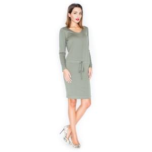 Zelené dámské pohodlné šaty s dlouhým rukávem