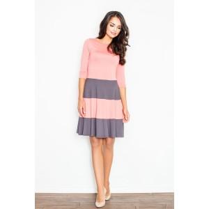 Exkluzivní růžové společenské šaty s šedými pásy a 3/4 rukávem