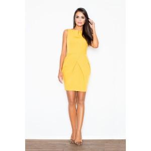 Žluté večerní dámské pouzdrové šaty nad kolena