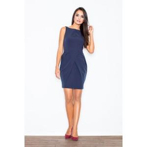 Luxusní plesové pouzdrové šaty nad kolena v tmavě modré barvě