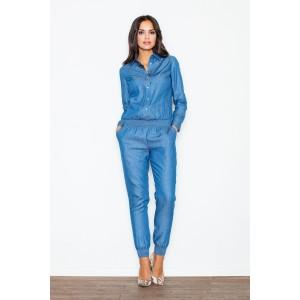 Džínový elegantní overal v modré barvě