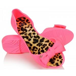 Stylové dámské baleríny v růžové barvě s rovnou podrážkou