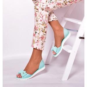 Dámské sandály tyrkysové barvy s mašlí