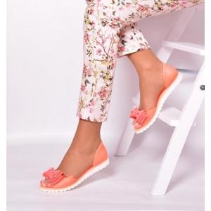 Oranžové dámské sandály s mašlí