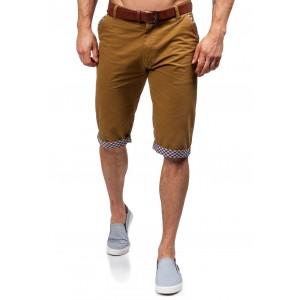 Pánské krátké kalhoty karamelové barvy se vzorovaným lemováním