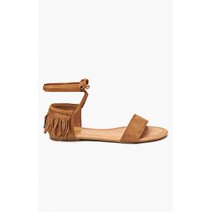 Dámské sandály v hnědé barvě s třásněmi