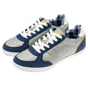 Pánské fitness boty v šedé barvě s modrým lemováním