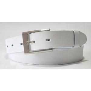 Pánský pásek bílé barvy se stříbrným detailem