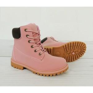 Dámské worker boty růžové barvy na zimu